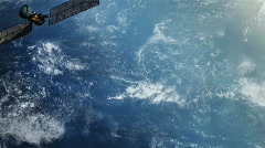 Military spy satellite over earth surface. Stock Footage