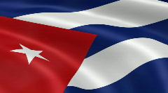 Stock Video Footage of Cuba FlagInTheWind