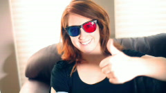 T193 thumbs up 3d stereoscopic anaglyph Stock Footage