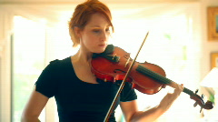 t193 violin player violinist red head redhead - stock footage