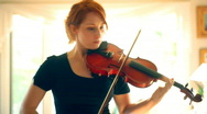 T193 violin player violinist red head redhead Stock Footage