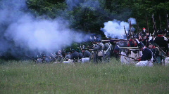 Americans fire muskets - stock footage