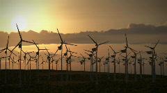 (1194) Electricity Wind Turbines Farm Power Clean Alternative Energy Environm Stock Footage