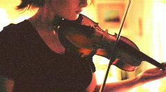 t193 old film violin fiddle string instrument 35mm 16mm - stock footage