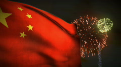 (1195) Fireworks Celebration Communist China Flag Sunset Entertainment Stock Footage
