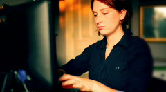 t193 RR redhead 100 writing stuff down computer screen write written - stock footage