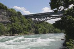 Niagara river and Whirlpool bridge. SD. Stock Footage