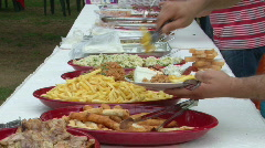 Open air buffet meal - stock footage