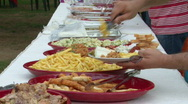Stock Video Footage of Open air buffet meal
