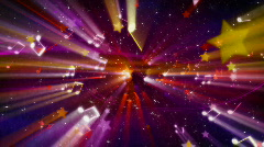 Loopable musical background flying shiny notes, stars and particles Stock Footage