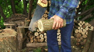 Sawing Wood 2 Stock Footage