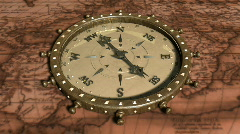Background With Old Map and Compass - Compass 11 (HD) Stock Footage