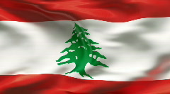 Creased LEBANON flag in wind - slow motion - stock footage