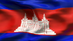 Creased CAMBOGIA flag in wind - slow motion Stock Footage