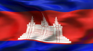 Stock Video Footage of Creased CAMBOGIA flag in wind - slow motion