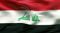 Creased IRAQ flag in wind - slow motion - stock footage