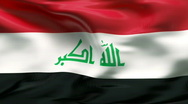 Stock Video Footage of Creased IRAQ flag in wind - slow motion