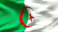 Stock Video Footage of Creased ALGERIAN flag in wind - slow motion