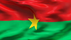 Creased BURKINA FASO  flag in wind - slow motion - stock footage