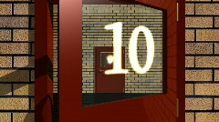 Countdown from 10 to 1 - Doors 01 (HD) - stock footage