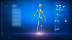Human skeleton in rotation with x-ray skull Stock Footage