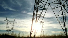 Electricity pylons - stock footage