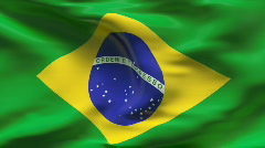 Creased BRASILIAN flag in wind - slow motion Stock Footage