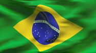 Stock Video Footage of Creased BRASILIAN flag in wind - slow motion