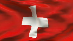 Creased SWISS flag in wind - slow motion Stock Footage