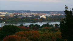 Cityscape with Potomac river and Thomas Jefferson Memorial Stock Footage