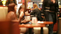 Relaxing in a cafe 4 - meeting - stock footage