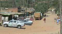 A high view over Maralal, a northern Kenya town with dirt roads. Stock Footage