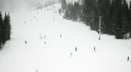 Stock Video Footage of Skiers on ski slope/ Little Cottonwood Canyon