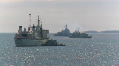 military, navy ships anchored - stock footage