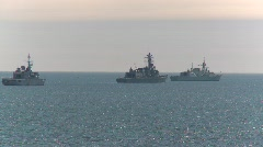 Military, navy ships anchored Stock Footage