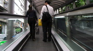 Long escalator fast ride Stock Footage