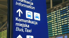 Warsaw Chopin airport 6 - timetables Stock Footage