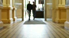 University hallway 2 Stock Footage
