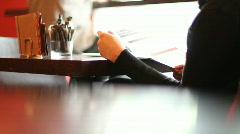 At the cafe 7 - manu Stock Footage