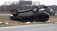 Stock Video Footage of SUV Rollover Accident - Multiple Shots