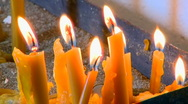 Candles burn in the church in memory of the dead Stock Footage