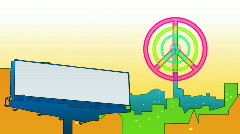 Pacifist shape in the city.Cartoon picture. Stock Footage