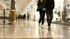 Shopping mall aisle with people Stock Footage