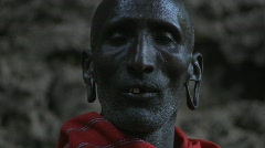 Old Masai warrior face. Stock Footage