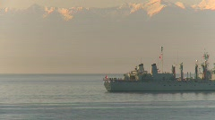 military, navy, Seaking Helicopter, #5 and HMCS Protectuer - stock footage