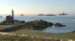 Fisgard lighthouse and navy ships Stock Footage