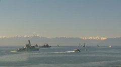 military, HMCS Algonquin passes flotilla - stock footage