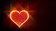 Red love heart on black background  Stock Footage