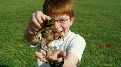 Boy holding a frog Stock Footage