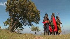 Masai warriors perform a ritual dance in Kenya, Africa. Stock Footage